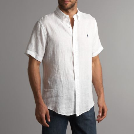 Polo Ralph Lauren Short Sleeved Linen Shirt In White For