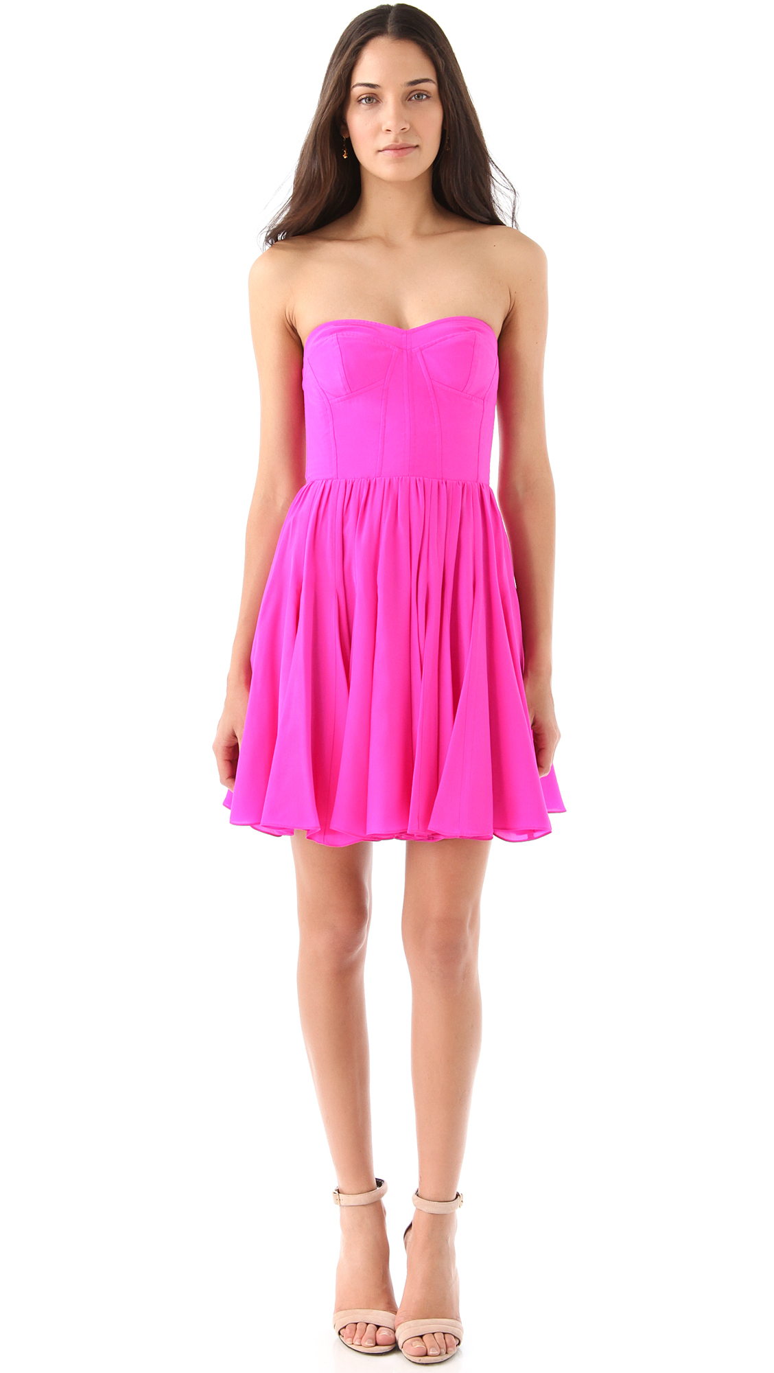 Rebecca Taylor Perfect Fit Strapless Dress In Pink