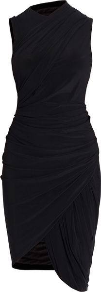 Alexander Wang Sleeveless Gathered Dress in Black - Lyst