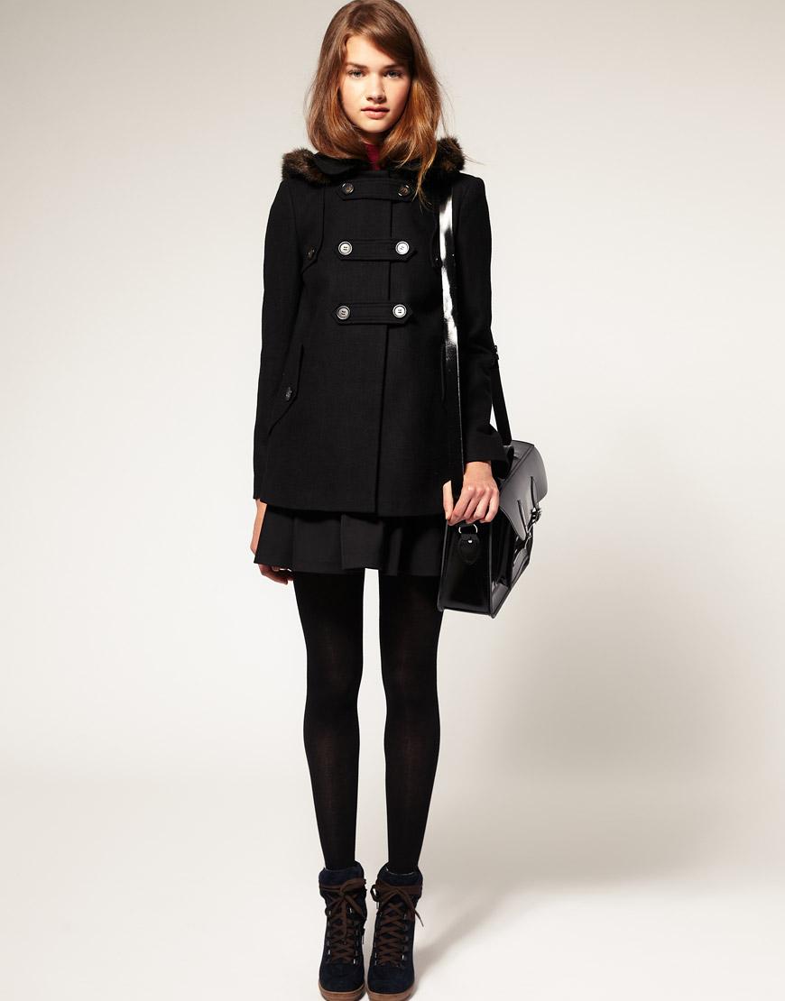 Asos collection Asos Petite Fur Hood A-line Coat in Black | Lyst