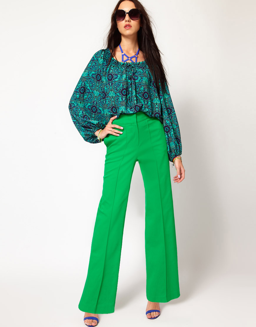 Asos High Waist Pants with Wide Leg in Green | Lyst