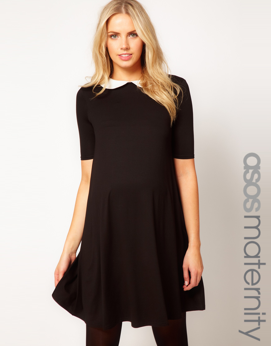 Black dress with white peter pan collar - Be Inspired