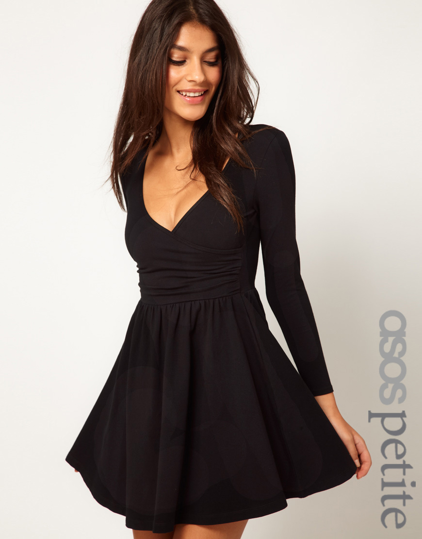 Lyst Asos Skater Dress With Ballet Wrap And Long Sleeves