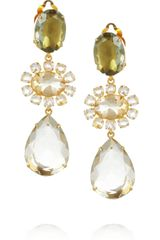 Bounkit Goldplated Green Amethyst and Quartz Clip Earrings - Lyst