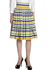 Dolce & Gabbana Striped Flare Skirt - Lyst