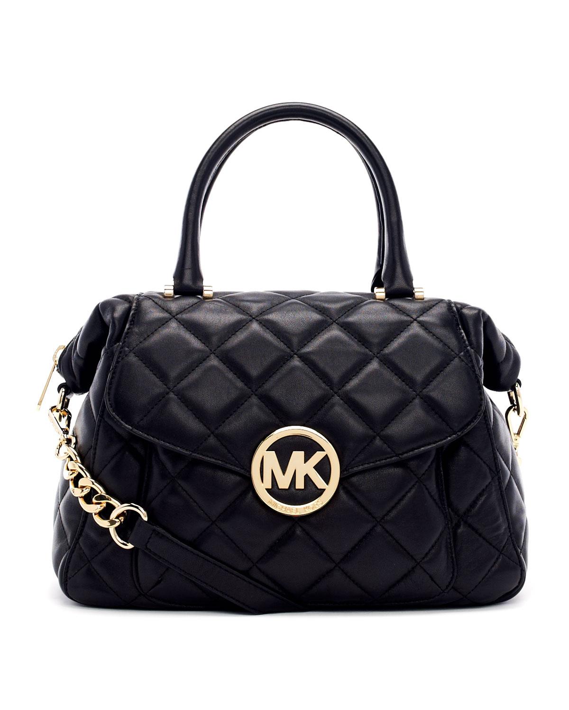 Discount Michael Kors Fulton Satchels - Bags Michael By Michael Kors Large Fulton Quilted Leather Satchel Bag Black