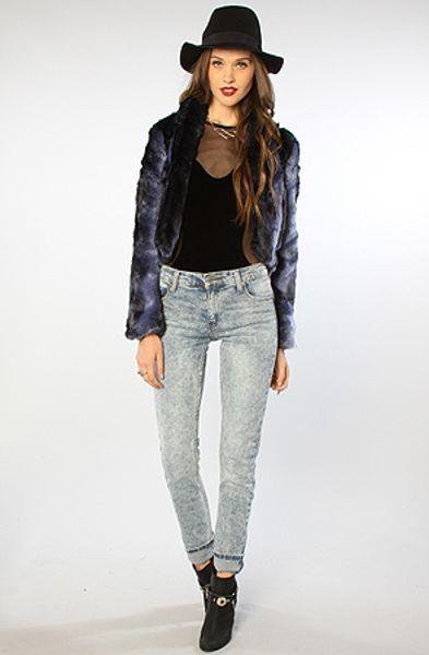Minkpink The Inked Fur Jacket In Blue Lyst