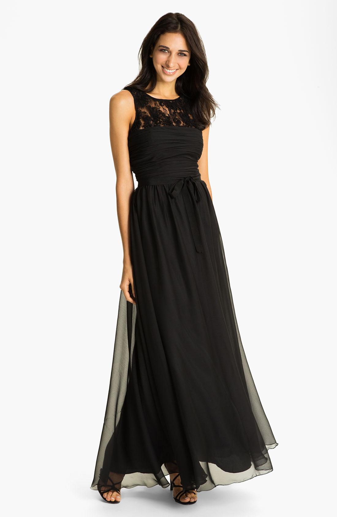 Ml Monique Lhuillier Bridesmaids Chiffon Gown In Black Lyst