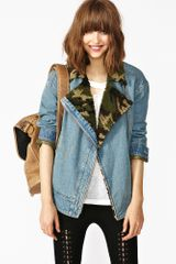 Nasty Gal Army Shearling Denim Jacket - Lyst