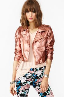 Nasty Gal Cropped Moto Jacket Copper - Lyst