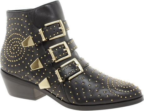 ea6f7a72e Steve Madden Madhouse Stud Strap Ankle Boots in Black | Lyst