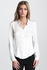 Theory Satin Blouse - Lyst