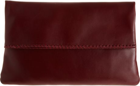 Barneys New York Large Foldover Clutch in Red (bordeaux) - Lyst