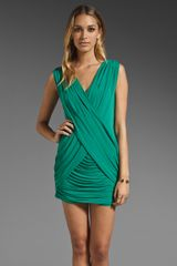 BCBGMAXAZRIA Cross Front Draped Mini Dress - Lyst