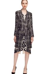 Bibhu Mohapatra Embroidered Tulle Long Sleeve Dress in Black (black/silver) - Lyst