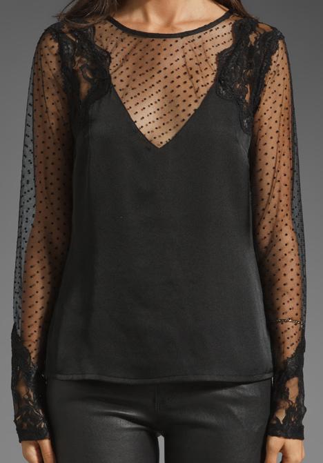 ladakh peekaboo lace top in black lyst