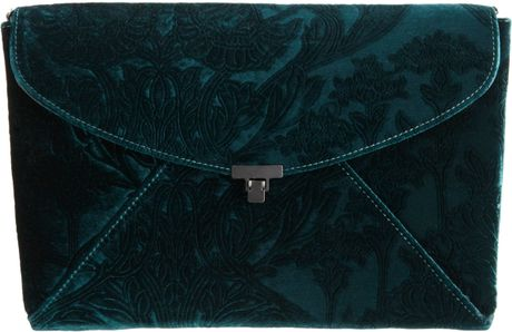 L'wren Scott Stamped Velvet Lady Clutch in Blue (gunmetal)