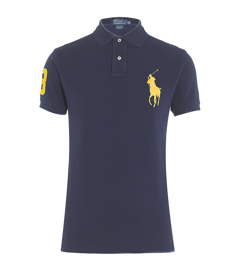 polo ralph lauren custom fit big pony polo shirt in blue for men. Black Bedroom Furniture Sets. Home Design Ideas