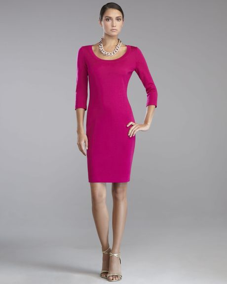 St. John Collection Milano Knit Scoopneck Dress Cosmo in Purple (cosmo) - Lyst