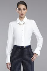 St. John Collection Luxe Crepe Blouse - Lyst