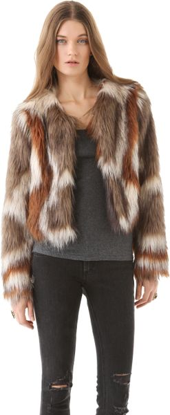 Twelfth Street By Cynthia Vincent Faux Fur Jacket in Brown - Lyst
