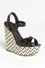 Sorell Leather Chevron Wedge Sandals