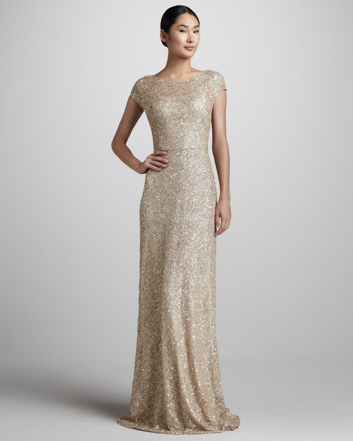 David meister Sequined Capsleeve Gown in Metallic | Lyst