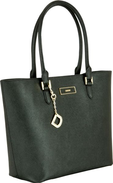 dkny dkny saffiano large shopper handbag black in black lyst