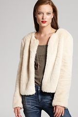 DKNY C Long Sleeve Faux Fur Jacket - Lyst
