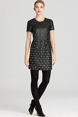French Connection Dexy Leather Studded Dress  - Lyst
