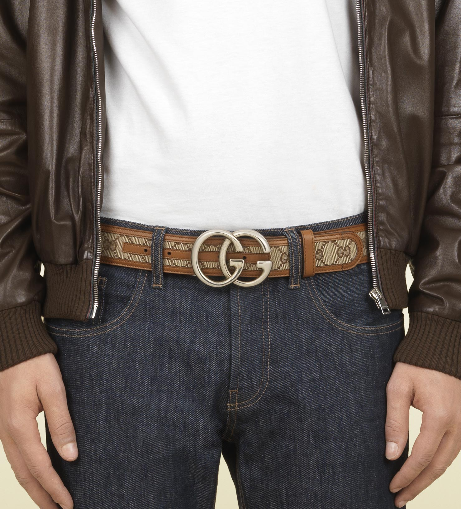 aa0107e9b56a Lyst - Gucci Original Gg Canvas Belt with Double G Buckle in Natural ...