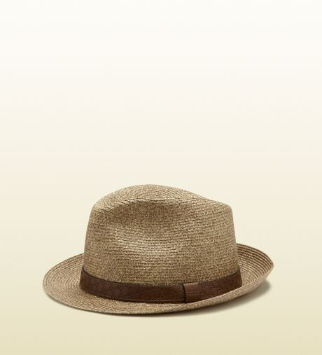 Gucci Hats For Men: Gucci Maple Brown Straw Fedora Hat In Brown For Men