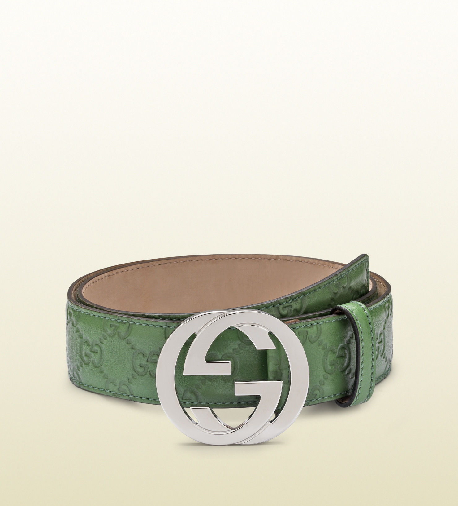 95a80f1d957 Lyst - Gucci Green Guccissima Leather Belt with Interlocking G ...
