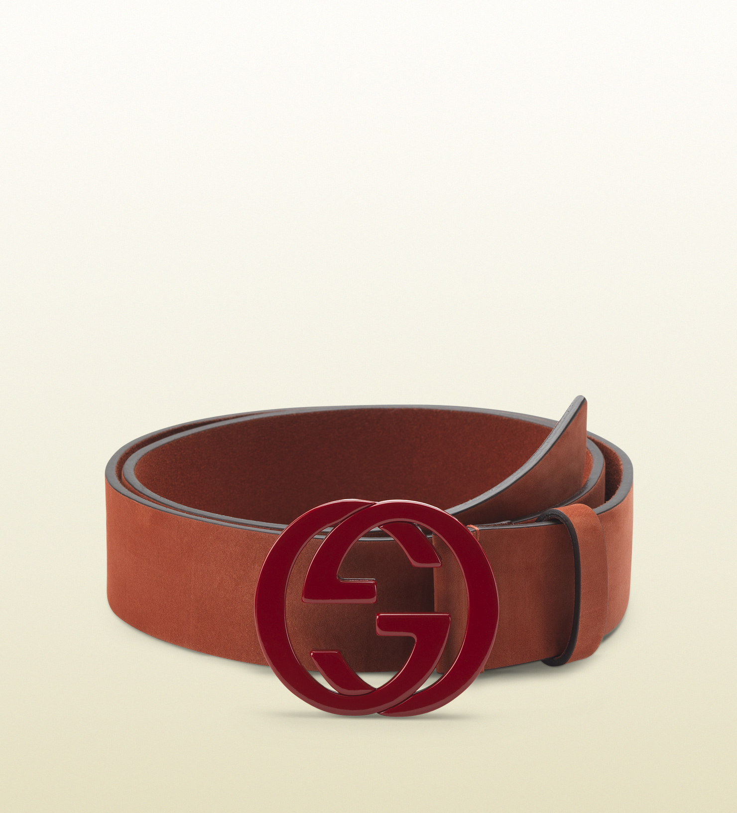 Gucci Red Suede Belt With Interlocking G Buckle in Red for ...