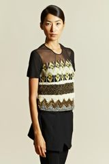 James Long James Long Womens Embroidered Sheer Top - Lyst