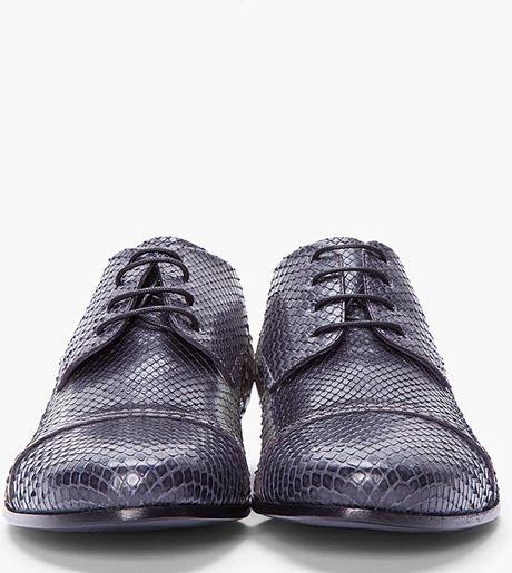 Lanvin Grey Batik Python Oxford Shoes in Gray for Men (grey