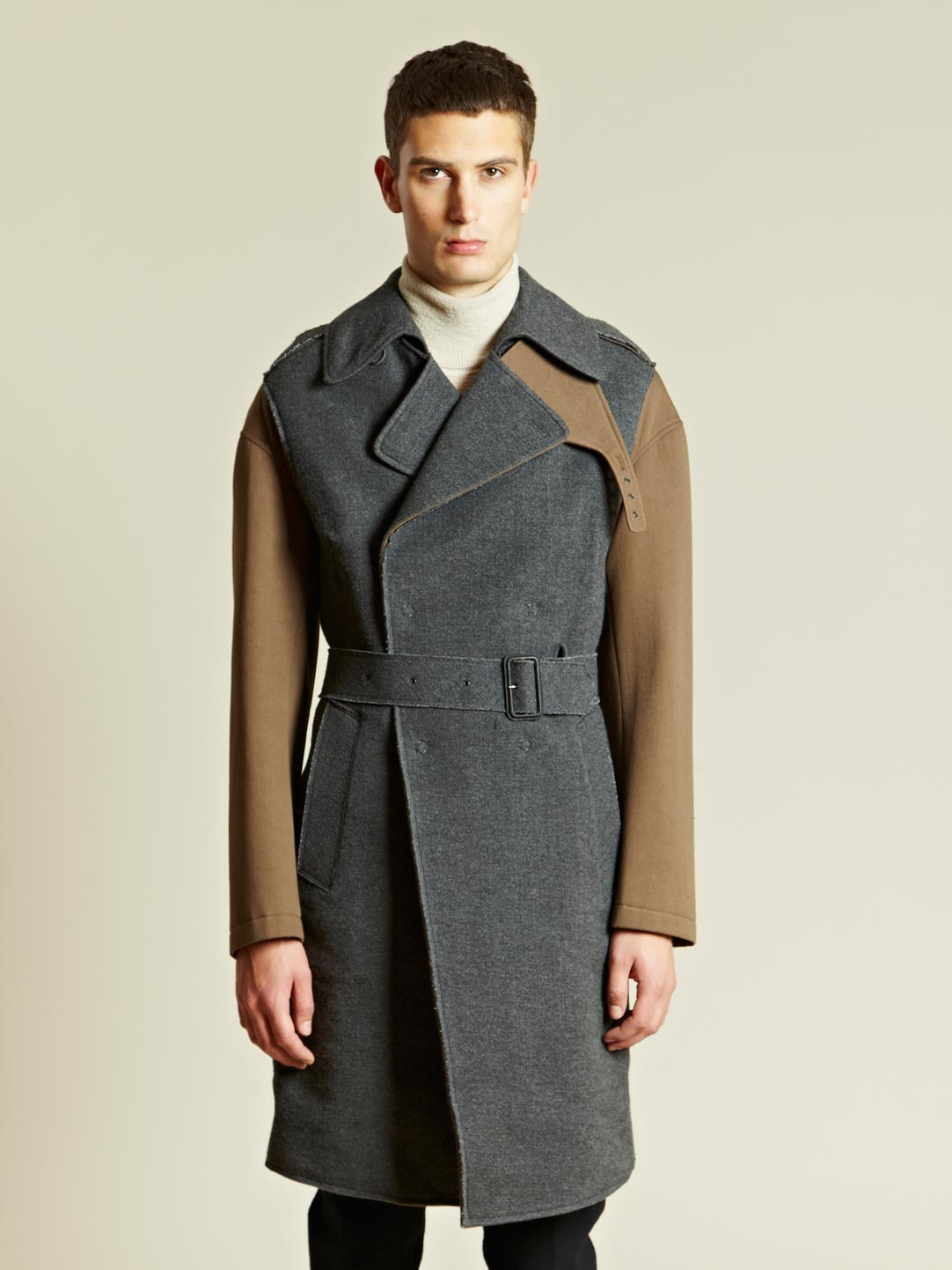 Lyst Lanvin Lanvin Mens Contrast Manteau Coat In Natural