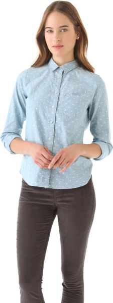 Madewell Dotted Chambray Shirt in Blue