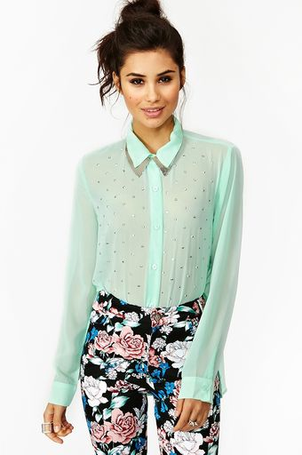 Nasty Gal Metallic Stud Blouse Mint - Lyst