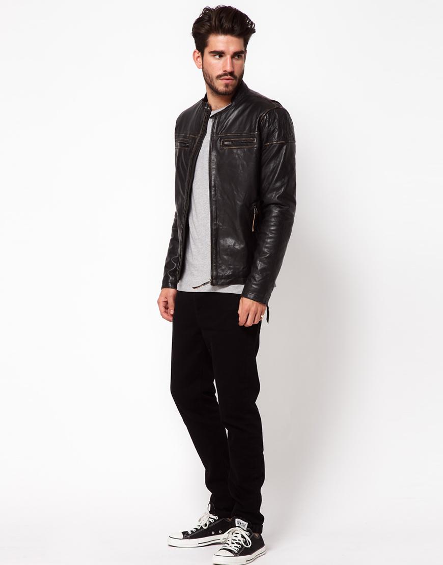 2911ca1160 Lyst - Pepe Jeans Pepe Leather Biker Jacket in Black for Men