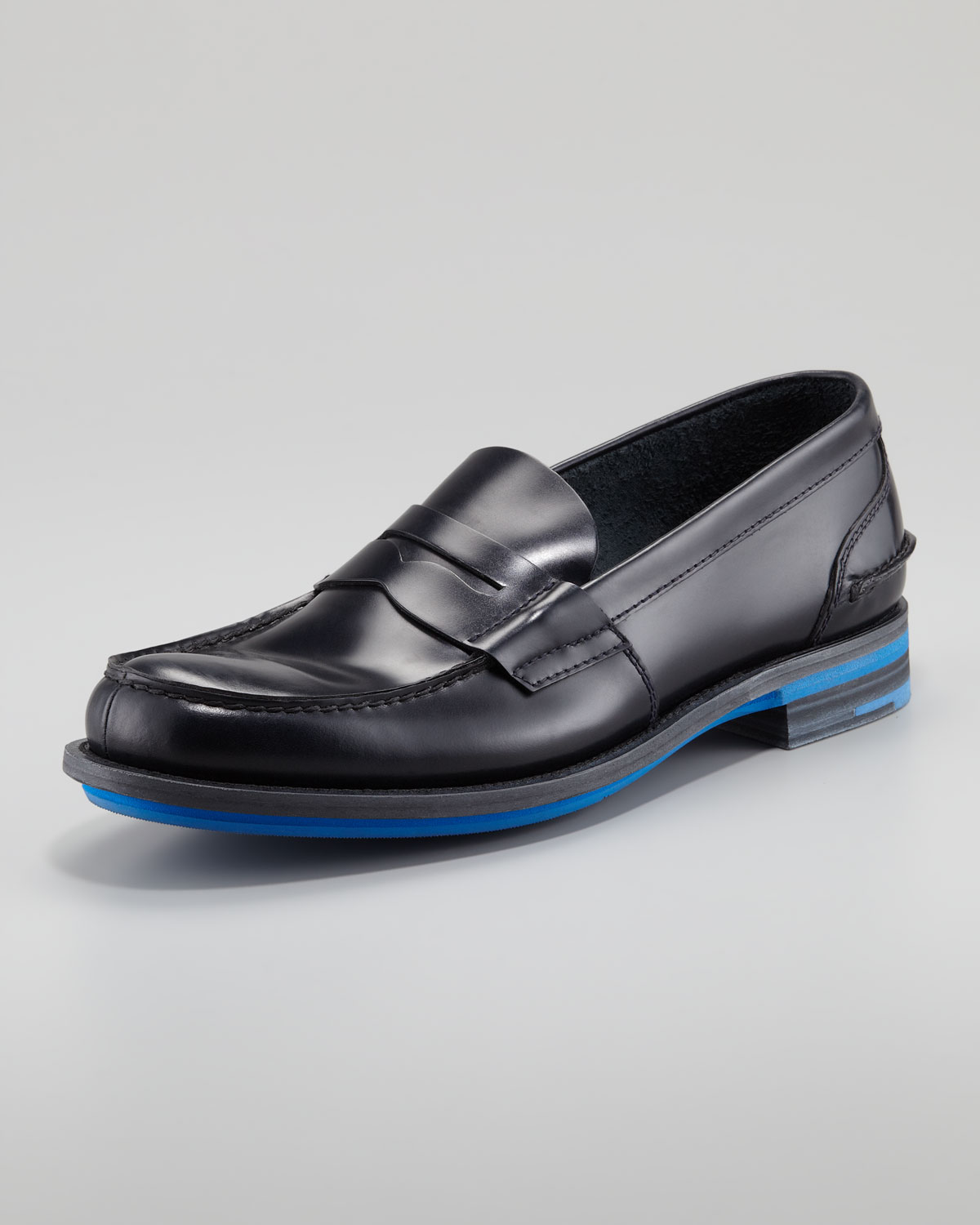 2eadcaa2042 ... order lyst prada rubber sole penny loafer in black for men 07f87 fae7b