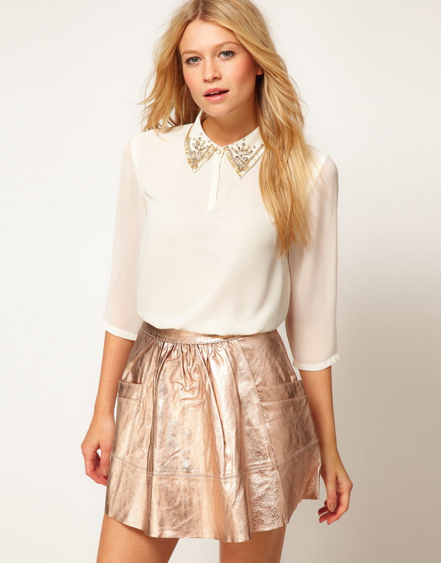 Lyst Ted Baker Jewel Collar Shirt In White