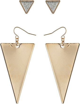 Topshop Triangle Earrings Multipack - Lyst