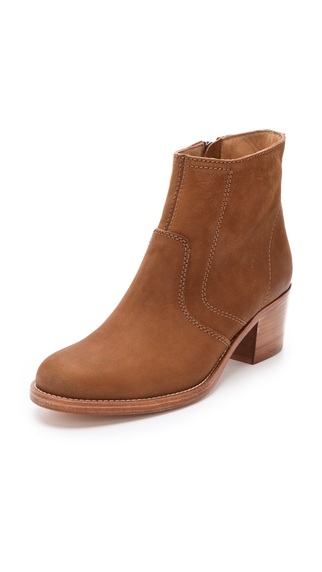a p c stacked heel ankle boots in brown lyst