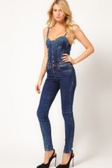 Asos Collection Asos Sexy Bandeau Jumpsuit in Denim in Blue (indigo) - Lyst