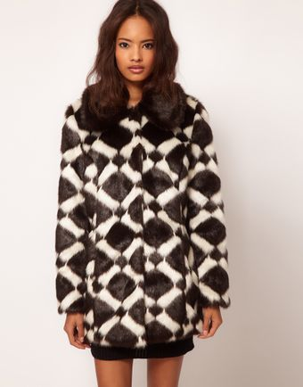 ASOS Collection Longline Chevron Fur Coat - Lyst