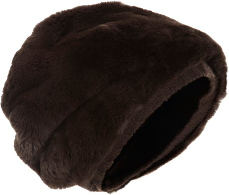 Barneys New York Fur Sock Hat in Brown - Lyst