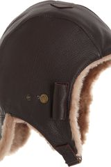 Barneys New York Motorcycle Cap in Brown - Lyst