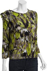 BCBGMAXAZRIA Pear Abstract Print Silk Elma Ruffle Shoulder Blouse - Lyst