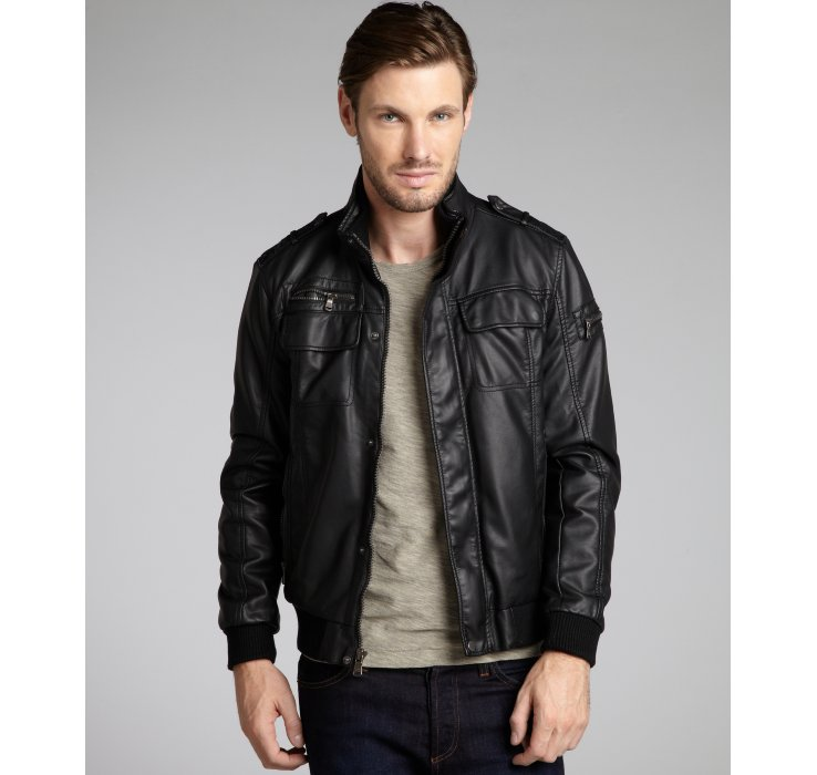 Calvin klein Faux Leather Bomber Jacket in Black for Men | Lyst